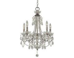 Crystal Tear Drop 5 Light Up Lighting Mini Chandelier traditional-chandeliers