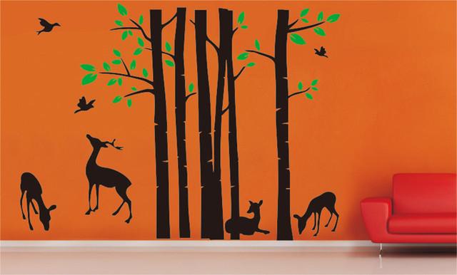 Tree With Birds Deer Wall. Deer Wall Decal