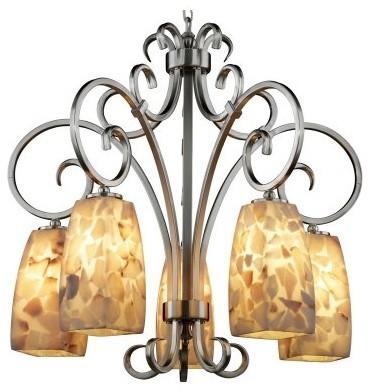 Justice Design Group Alabaster Rocks ALR-8575-65-NCKL Victoria 5-Downlight Chand modern-chandeliers