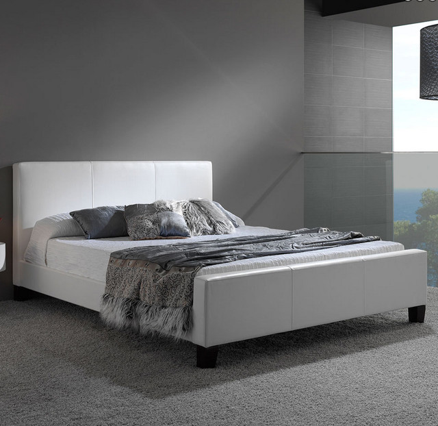 Euro Leather Platform Bed By Fashion Bed Group modern beds