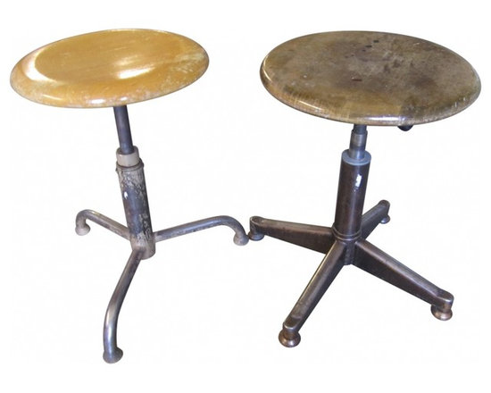 Swiss Architect Stools - Set of 2 vintage Swiss architect stools.  Strong metal base & legs with solid wood seats.