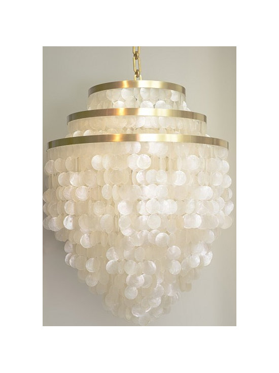 Lily by Gwen Carlton - Quite simply the most luxe, lush and versatile capiz chandeliers available. This classic design staple can be made to almost any size and shape. Enough polish for a chic city apartment, or play up the organic materials at the beach or in the country.