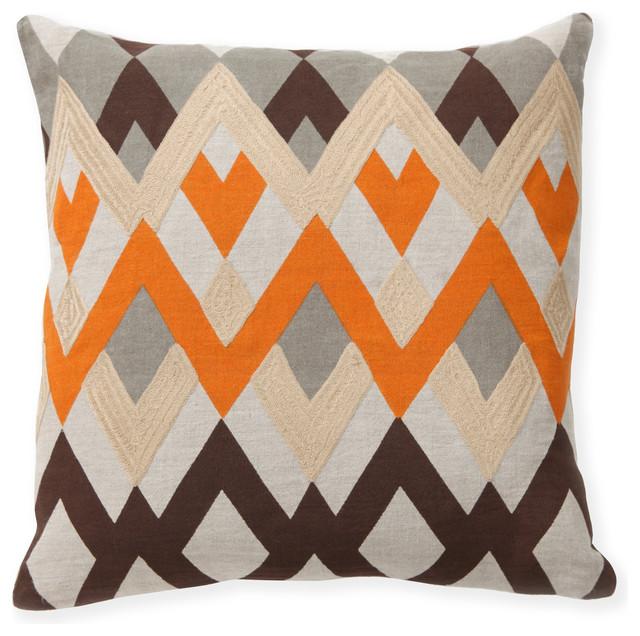 Diamond Echo Orange Decorative Pillows