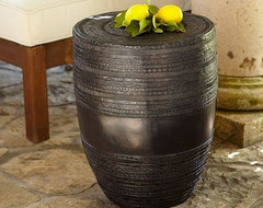 Metal Drum Accent Table eclectic outdoor tables