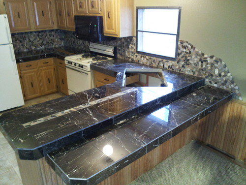 Marble Tile Countertop : ve attached an image of the counter top that was taken right after ...