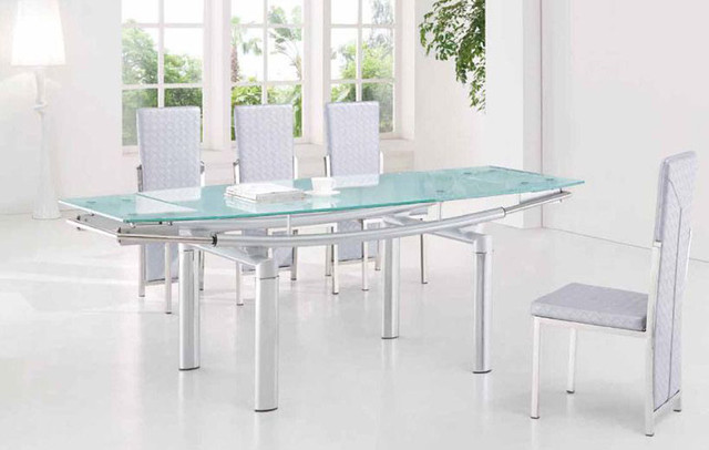 Extendable frosted glass top leather dining furniture set Glass dining table