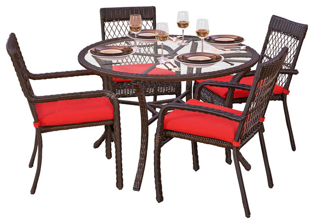 Santa Monica 5 Piece Outdoor Wicker Dining Set Red