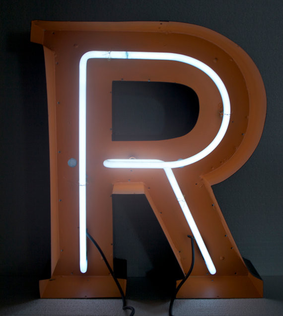 large neon vintage aluminum letters by hayward neon With large neon letters