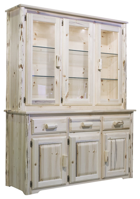 Montana Woodworks China Hutch In Clear Lacquer Rustic