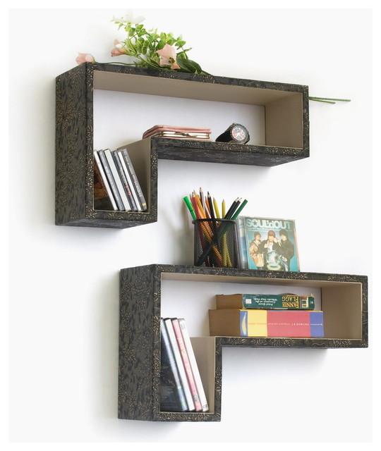 [Beyond Retro] Gun-Shaped Leather Wall Shelf / Floating Shelf (Set of 2) traditional-wall-shelves