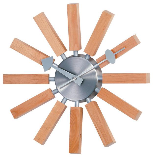 Wooden Slat Wall Clock modern-wall-clocks