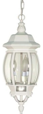 Glomar Central Park 3-Light 20 in. Outdoor White Hanging Lantern with Clear Beve contemporary-outdoor-lighting