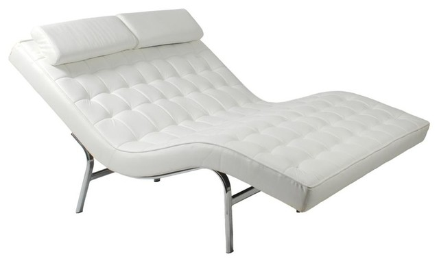 Double leather chaise lounge contemporary indoor - Designer chaise lounge chairs ...