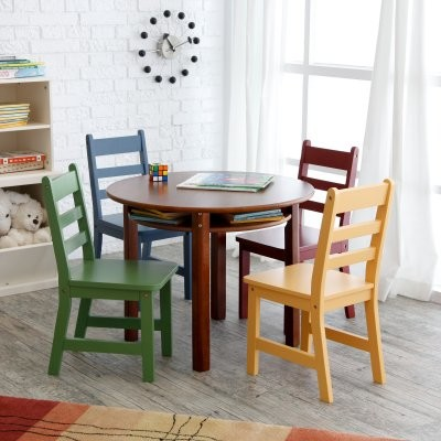 Childrens walnut round table and 4 chairs modern kids chairs