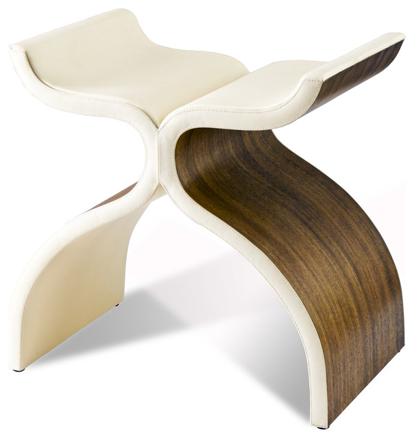 Cluny Modern Sculptural Wood & Leather Stool transitional-footstools-and-ottomans