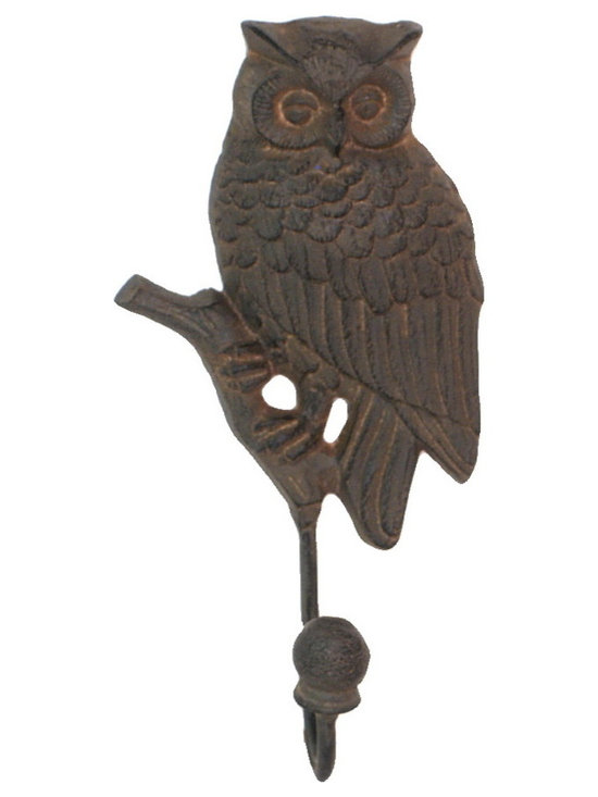 Heather Fields Home & Garden - Cast Iron Owl Hook - Brown rustic cast iron decorative owl hook. Perfect for hanging jewelry, scarfs or purses on. Can be used outdoors as well.