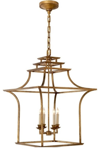 Pagoda Lantern Chandelier - Asian - Chandeliers - by Charlotte and Ivy