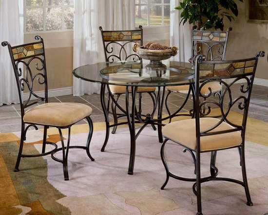 """Hillsdale Furniture - Slate Mosaic Dinette Set with Four Dining Cha - Bring your dining room to life with this beautiful set, which includes an artistic table and four attractive chairs. The frames are all gracefully curved metal with a black gold finish, and the look of elegance and style is completed with a design of colorful mosaic which is set into the back rest of each chair and under the shining glass surface of the table. Do you want to wow your guests with something truly unique? Then consider this slate dining set featuring mosaic-backed chairs. Matching metal supports the soft plush upholstery on the chairs, and the chair backs feature an elegant swirling pattern. * For residential use. Do you want to wow your guests with something truly unique? Then consider this slate dining set featuring mosaic-backed chairs.. Curved metal legs finished in a charming slate finish support the glass on the tabletop.. Matching metal supports the soft plush upholstery on the chairs, and the chair backs feature an elegant swirling pattern.. 5 Piece Dining Set w Table & 4 Fixed Chairs. Components: Metal Dining Table - hd-4442-810-811; Dining Chairs - hd-4442-802 (4). Table: 30H x 31.5W x 31.5D - 48"""" Diameter. Chairs: 40.25H x 18.2W x 22.5D"""
