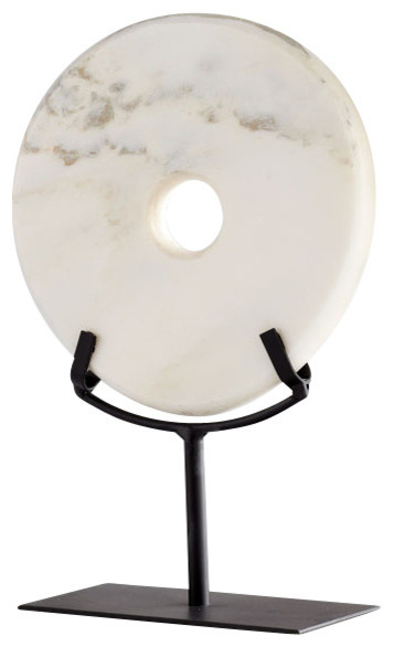 White Marble Disk Sculpture, Small contemporary-statues-and-figurines