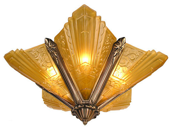 French Marseilles Art Deco Slip Shade Chandelier Antique Finish Traditional