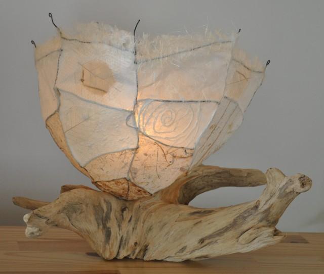 Driftwood table lamp lampe de bois flott ou bois de mer eclectic table - Bois flotte montreal ...