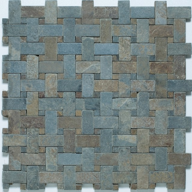 Slate Basketweave Mosaic contemporary floor tiles