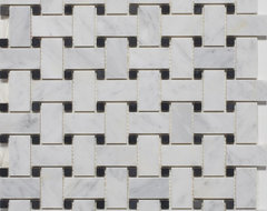 Bianco Carrara Honed Basketweave Mosaic Tiles contemporary-floor-tiles
