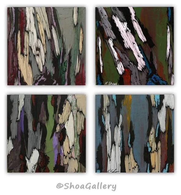 ORIGINAL set of 4 Painting of Trees - Tree Art green purple blue white gray modern-artwork