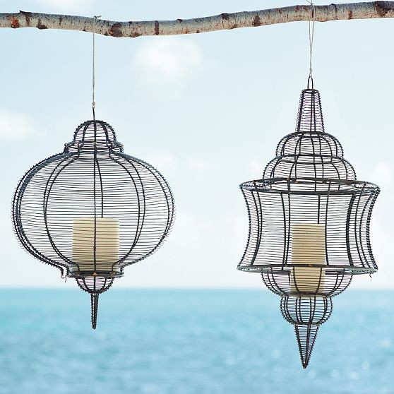 Wire Lanterns eclectic outdoor lighting