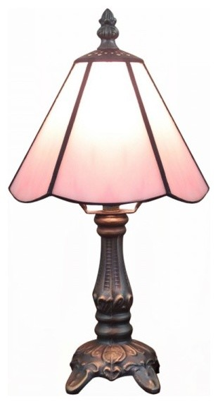 "6"" Tiffany Stained Glass Shade Zinc Base Vintage Table Lamps, Purple traditional-table-lamps"