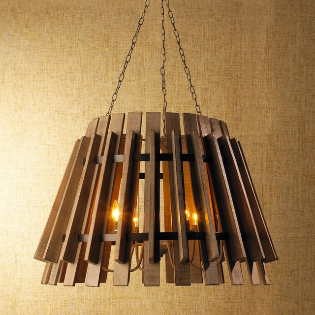 Wood Slat Industrial Chandelier - Chandeliers - by Shades of Light