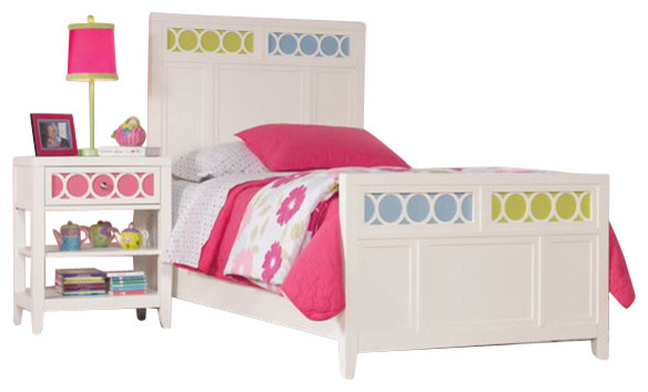 Lily Colors Panel Bed with Colors Footboard 4 Pc Bedroom Set in White transitional-kids-beds