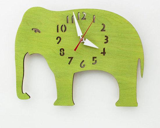 Lime Elephant Children's Wall Clock -