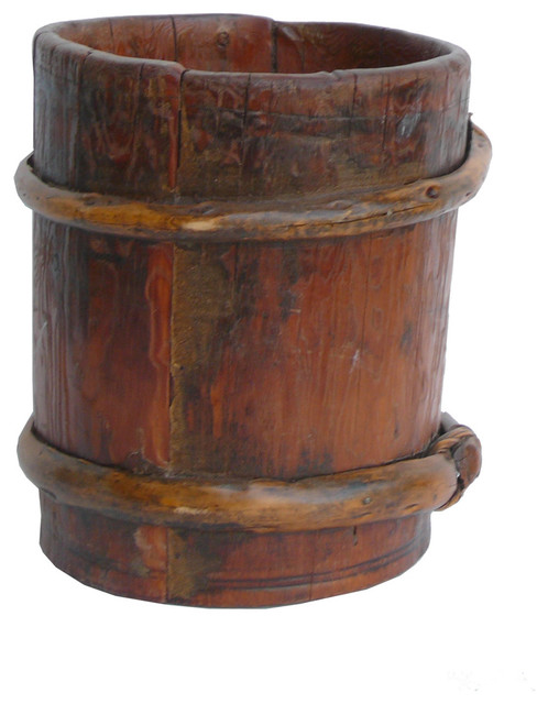 Chinese round tube shape wood bamboo container eclectic indoor pots