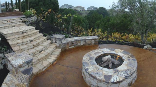 Arbor, Fire pit, Landscape steps, stone columns traditional-landscape