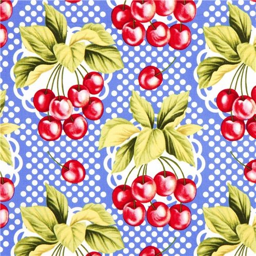 Retro Cherry Fabric With Polka Dots By Michael Miller