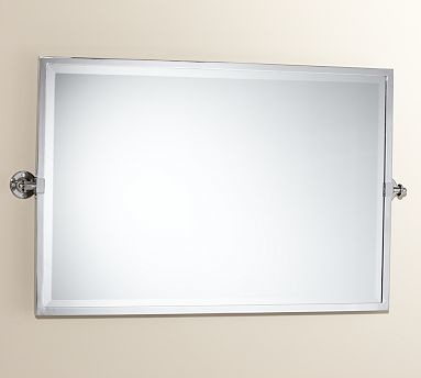 Kensington Pivot Mirror Extra Large Wide Rectangle Polished Nickel Finish Traditional