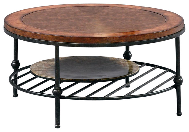 Round Cocktail Table W Faux Leather Top Gun Contemporary Coffee Tables By Shopladder
