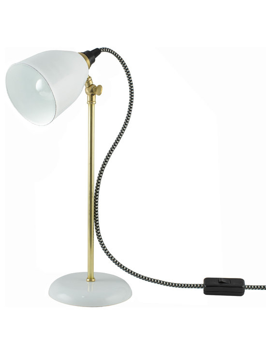 Lovell Task Lamp - The Lovell Task Lamp marries mid-century style with American made, quality craftsmanship. This table lamp is crafted to work hard with its porcelain-steel conical cup shade and brass or galvanized stem. Its weighted base provides extra stability and precision joints at the neck of the stem allow you to swivel the shade at a 90 degree angle. We've completed this table lamp's throwback-look with vintage-inspired an inline on/off switch for convenience.