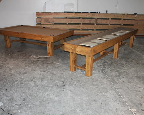 Michigan Made Custom Pool Tables - Add a custom made McClure shuffleboard table to your basement and you will forever be happy. Made with one hundred percent North American hard maple wood, this table exudes a unique contemporary style. Not only will this be a focal point of your basement but it will also provide entertainment for you and your friends and family.