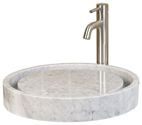 Infinity Sink: Round Polished Cream Egyptian Marble Infinity Vessel Sink