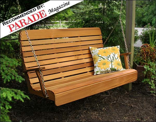 Red Cedar Royal Highback Porch Swing contemporary-patio-furniture-and-outdoor-furniture