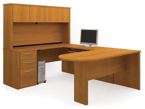 Bestar Embassy U-Shaped Workstation with Peninsula Table - Cappuccino Cherry contemporary-desks-and-hutches