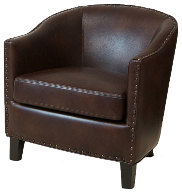 Allegro Brown Leather Club Chair transitional-accent-chairs