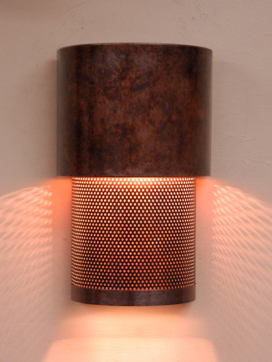 mottled copper and mesh wall sconce - This is one of a series of dark sky compliant lighting we have produced here in our studio in Austin, TX.