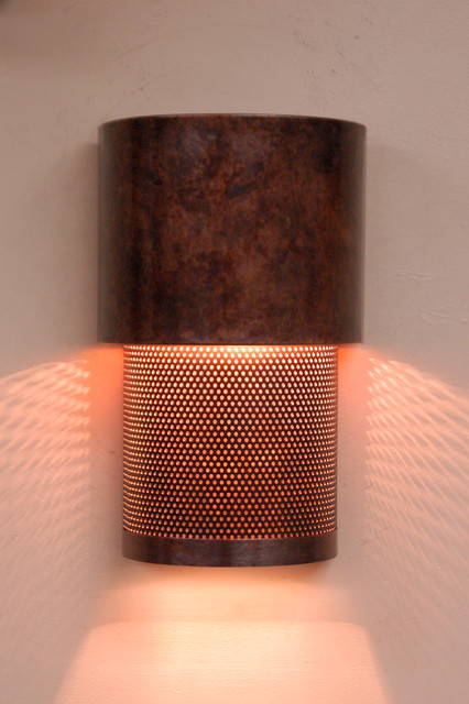 Mottled Copper And Mesh Wall Sconce Contemporary Wall