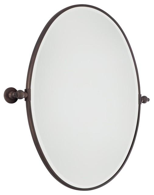 Oval tilt bathroom mirror large 3 finishes bathroom for Oval bathroom mirrors
