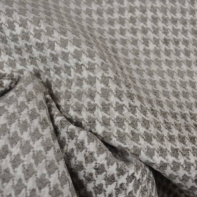 Dotcom charcoal grey houndstooth upholstery fabric traditional