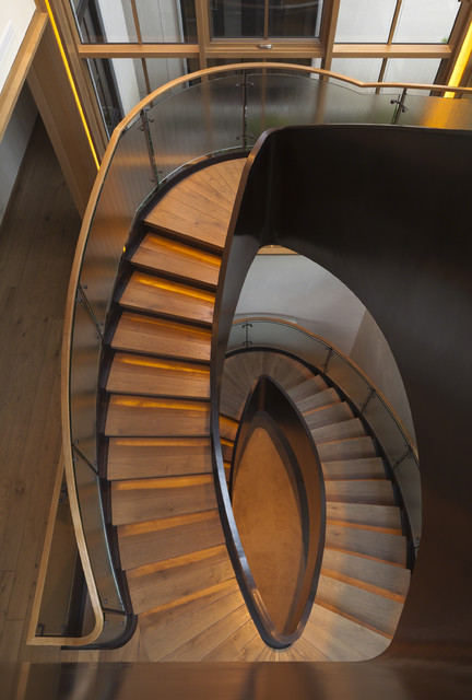 steel elliptical stair contemporary staircase