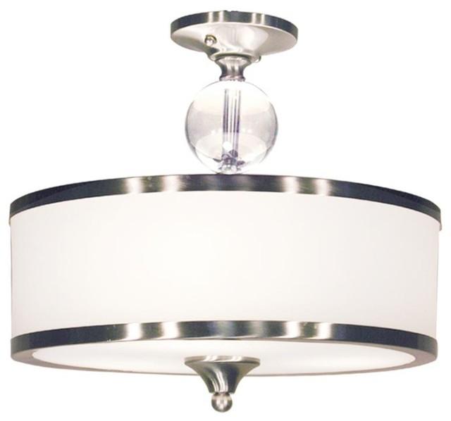 Three Light Brushed Nickel White Glass Drum Shade Semi Flush Mount Contempo